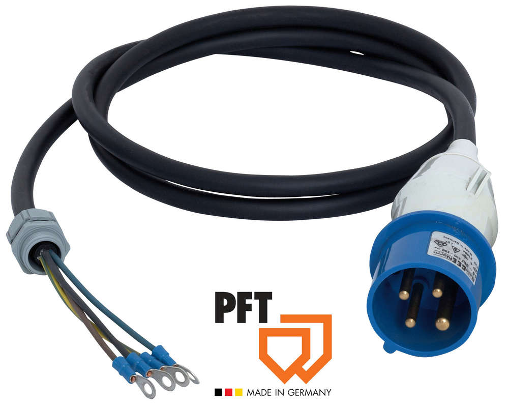 Motor connection cable 1,9 m CEE 4 x 16A 9h blue